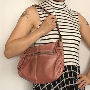 Tignanello Pink Leather Hobo Shoulder Bag
